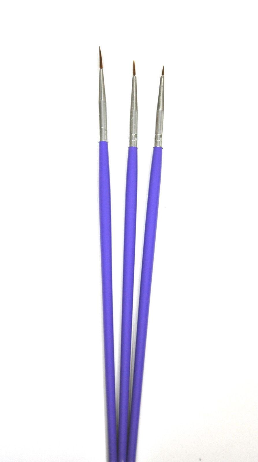 Neu 3 X Fineliner Striper Pinsel Set 12 8 4 Mm Lila Gel